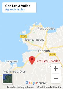 Gîte Les 3 Voiles - localisation map carte
